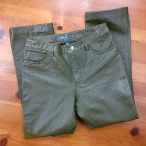 GAP Olive Green Genuine Leather Boot Cut Pants!